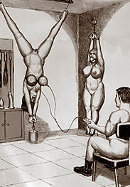 Her whole body tensing up - Hanging women by Badia