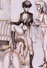 Madame Whipcord goes for ride, the ponies are trembling - Tim's Ponygirls by Tim Richards