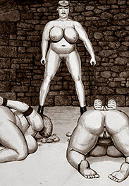 Choke on his enormous cock - Prison camp by Badia